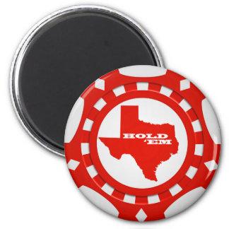 Sosténgalos el imán de la ficha de póker (rojo)