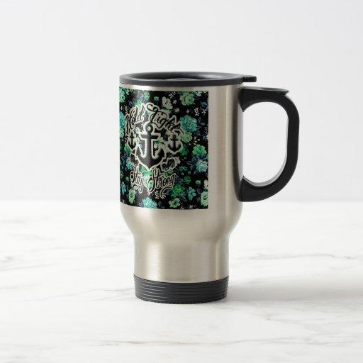 Sosténgase firmemente, arte náutico floral fuerte/ taza de viaje de acero inoxidable