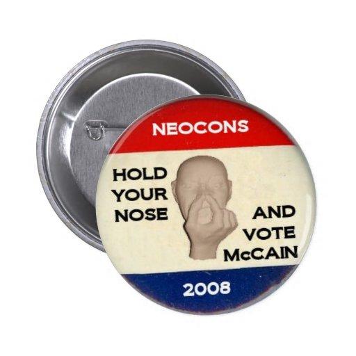 Sosténgase la nariz y vote pin redondo de 2 pulgadas