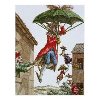 Sostenido en alto por los paraguas y las mariposas postales