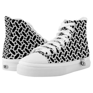 Sothy | Black+White Pattern High Top Printed Shoes