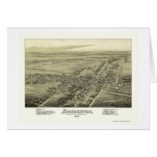 Souderton, mapa panorámico del PA - 1894 Felicitaciones