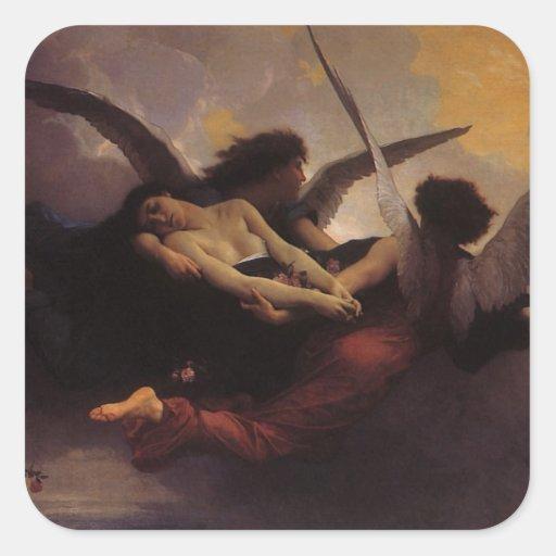 Soul Brought to Heaven by Bouguereau, Vintage Art Square Sticker