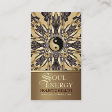Soul Energy Yin Yang New Age Gold Business Card