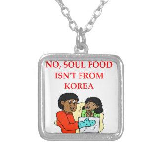 soul food square pendant necklace