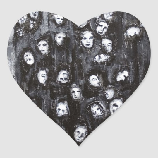 Soul Groups (black and white surrealism) Heart Sticker