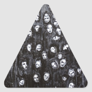 Soul Groups (black and white surrealism) Triangle Sticker