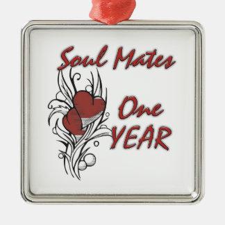 Soul Mates 1 Year Metal Ornament