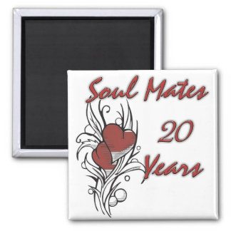 Soul Mates 20 Years 2 Inch Square Magnet