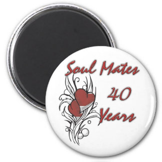 Soul Mates 40 Years 2 Inch Round Magnet