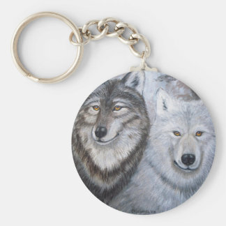 Soul Mates Wolves by Lori Karels Basic Round Button Keychain