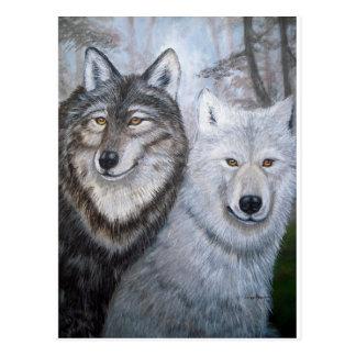 Soul Mates Wolves by Lori Karels Postcard