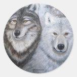Soul Mates Wolves by Lori Karels Round Stickers