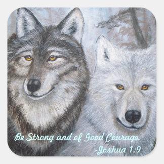 Soul Mates Wolves by Lori Karels Square Sticker