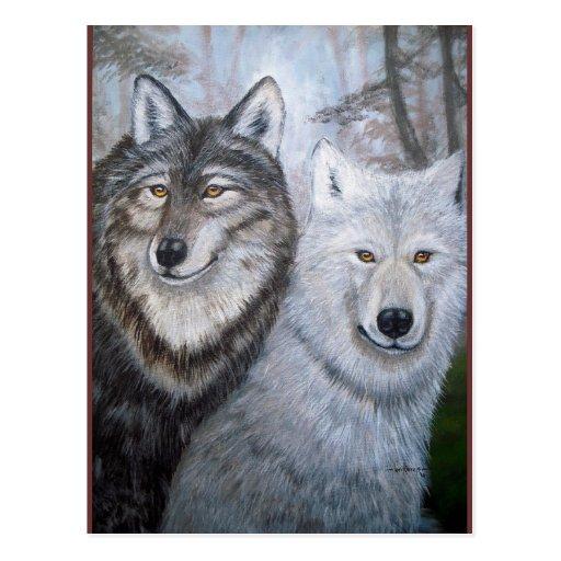 soul mates wolves postcard