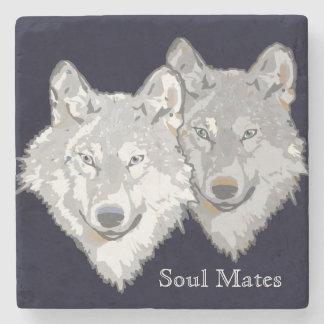 Soul Mates Wolves Stone Coaster