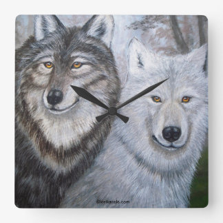 Soul Mates Wolves Wall Clock art of Lori Karels