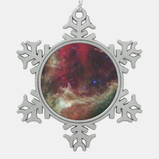 Soul Nebula emission nebulae in Cassiopeia Snowflake Pewter Christmas Ornament