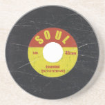 "Soul Record Sandstone Coaster<br><div class=""desc"">Sandstone coaster with 1960&#39;s northern soul 45pm vinyl record graphic.</div>"