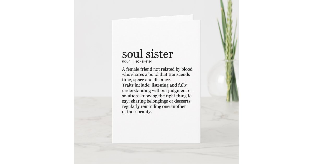 Soul Sister Dictionary Definition Greeting Card Zazzle Com