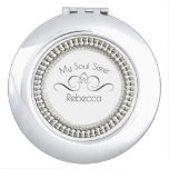 """Hand shaped SOUL-SISTER-""""MONOGRAM NAME """" Round* Silver Mirror For Makeup"""