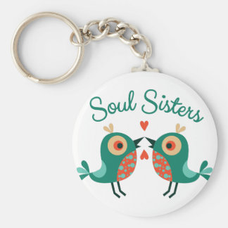 Soul Sisters Basic Round Button Keychain