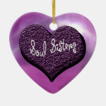 Soul Sisters Double-Sided Heart Ceramic Christmas Ornament
