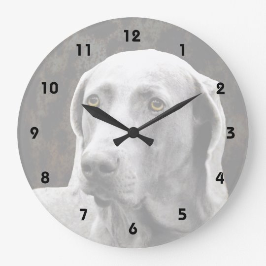 Soulful Eyes of the Weimaraner Large Clock