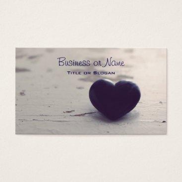 Beach Themed Soulful Purple Stone Heart on a Sandy Beach Business Card