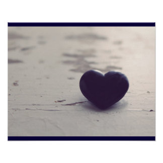 Soulful Purple Stone Heart on a Sandy Beach Poster