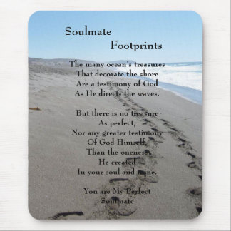 Soulmate Footprints Mouse Pad With Poem