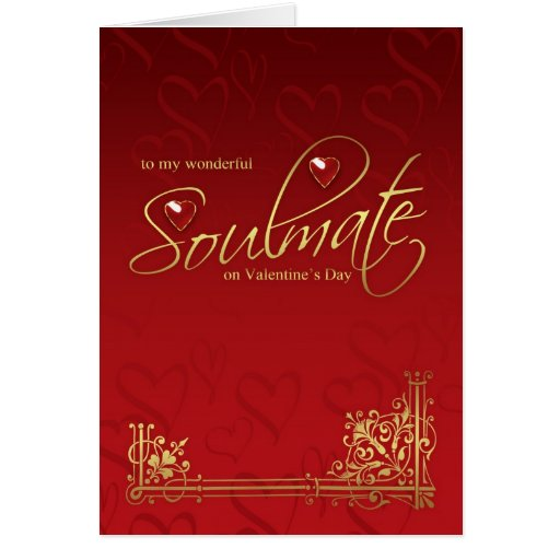 Soulmate Valentine's Day Card - Gold Effect On Red