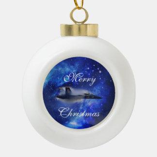 Sound barrier plane ceramic ball christmas ornament