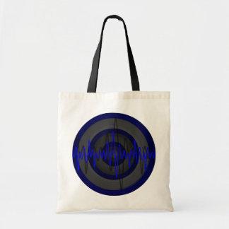 Sound Blue Dark Round budget tote bag
