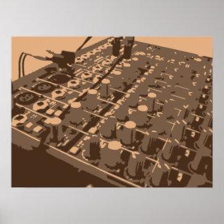 Sound Board Mixer Brown Vector Poster