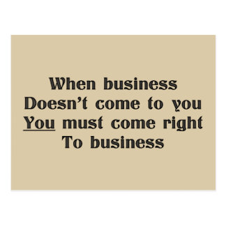 Sound business advice, come to business postcard