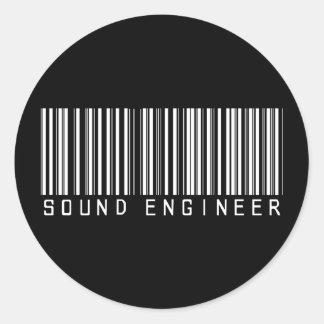 Sound Engineer Bar Code Classic Round Sticker