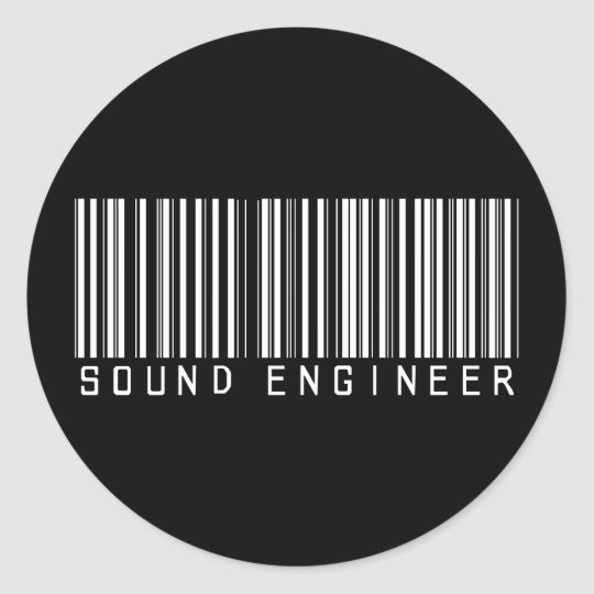 Sound Engineer Bar Code Classic Round Sticker
