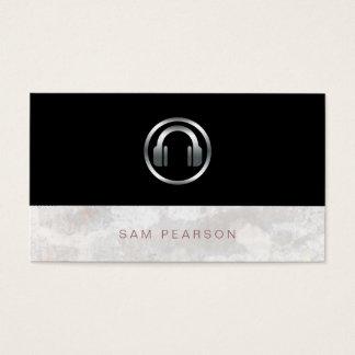 Sound Engineer Bold Silver Headphones Icon Elegant Business Card