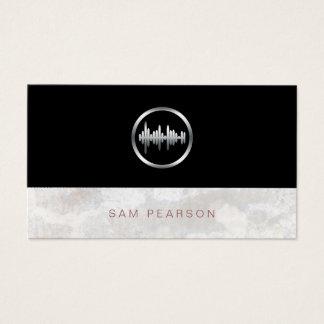 Sound Engineer Bold Silver Sound Wave Icon Elegant Business Card