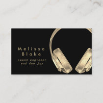 sound engineer dee jay faux gold on black business card