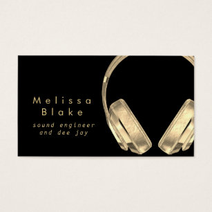 Engineering business cards templates zazzle sound engineer dee jay faux gold on black business card wajeb Image collections