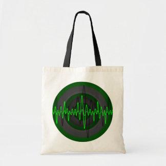Sound Green Dark Round budget tote bag