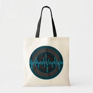 Sound Light Blue Dark Round budget tote bag