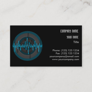 sound light blue dark round business card template - Round Business Cards