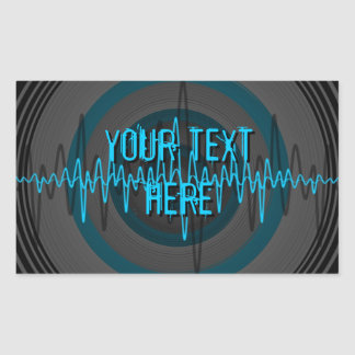 Sound Light Blue Dark 'Your Text' rectangle Stickers