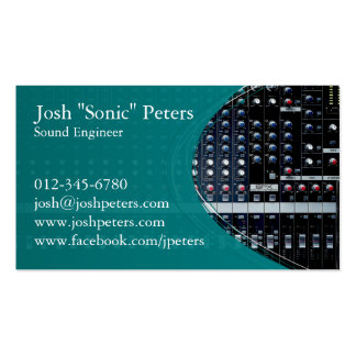 Sound Mixing Console Green Business Card