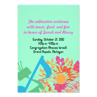 SOUND OF THE TORAH FLOWER Bat Mitzvah Party Card