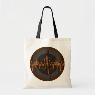 Sound Orange Dark Round budget tote bag