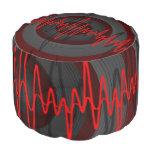 Sound Red Dark pouf Round Pouf